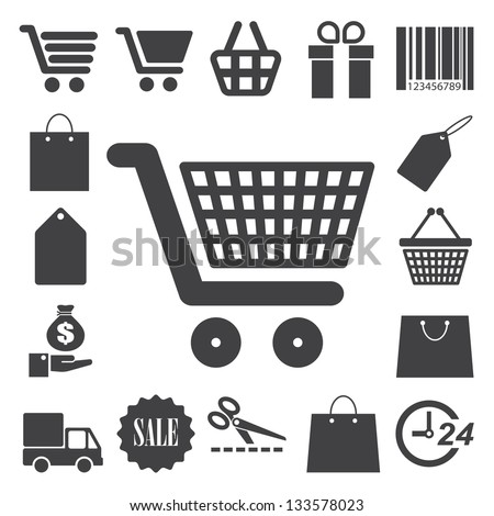 Shopping icons set. Illustration eps 10 - stock vector