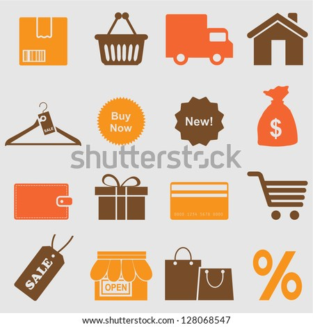 Shopping icons set.Vector - stock vector