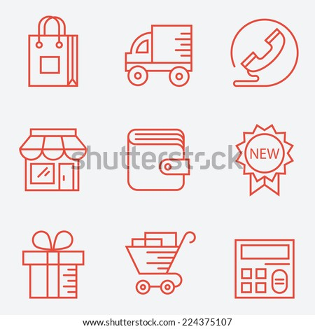 Shopping icons � thin line style, modern flat design - stock vector