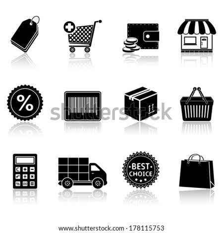 Shopping icons with reflection - stock vector