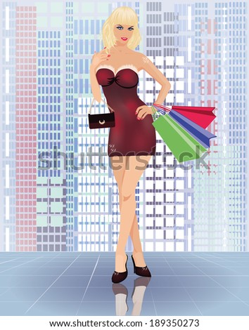 Shopping in city, young woman with handbags, vector  - stock vector