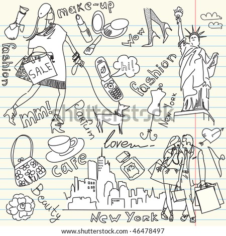 shopping in new york doodles - stock vector