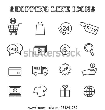 shopping line icons, mono vector symbols - stock vector