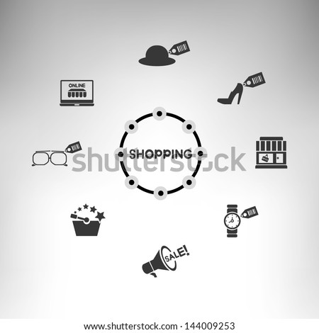 shopping mind mapping, shopping icons, info graphic - stock vector