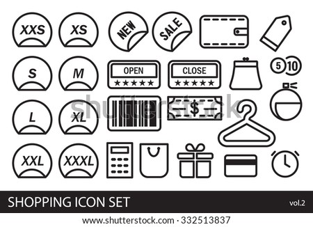 Shopping minimal vector contoured icons set for web and mobile - stock vector