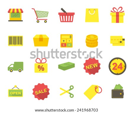 Shopping, modern flat icons - stock vector