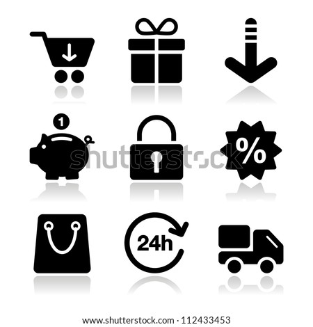 Shopping on internet black icons set with shadow - stock vector
