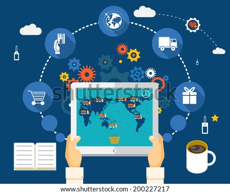 Shopping on world map on screen of tablet. World Wide Shopping Concept - stock vector