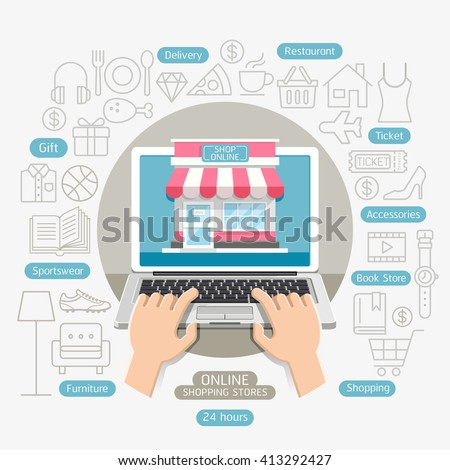 Shopping online business conceptual flat style. Vector illustration. Can be used for workflow layout template, banner, diagram, number options, web design, infographics, timeline. - stock vector