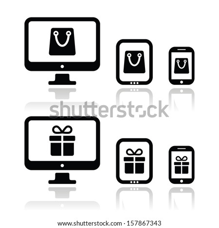 Shopping online, internet shop icons set  - stock vector