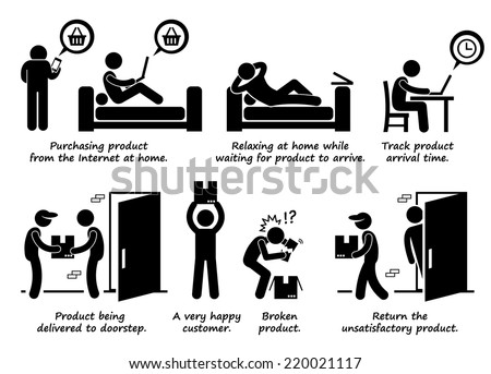 Shopping Online Process Step by Step at Home Stick Figure Pictogram Icons - stock vector