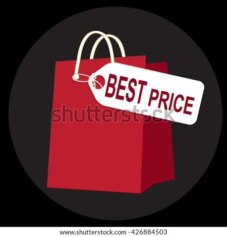 Shopping paper bag with best price tag, icon sign vector illustration - stock vector