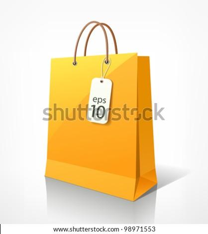 Shopping paper bag yellow empty, vector illustration - stock vector
