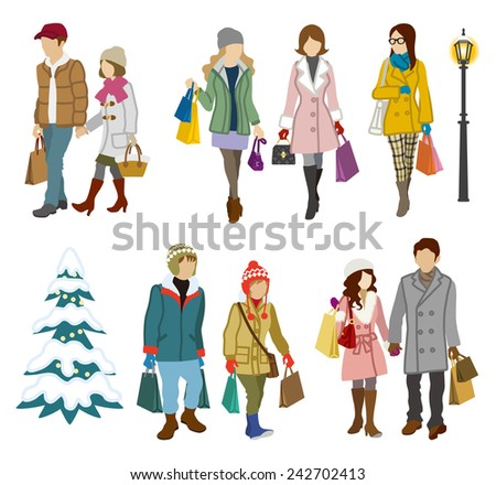 Shopping people winter, Young Adults - stock vector