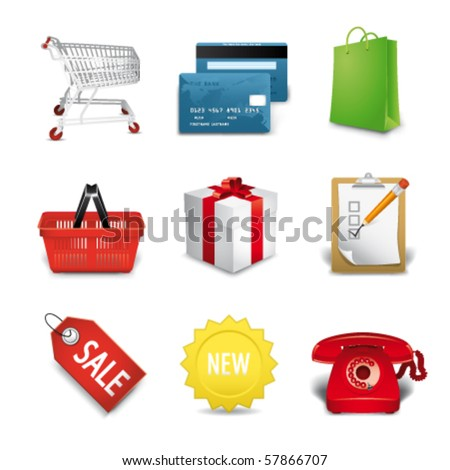 shopping premium icons - stock vector