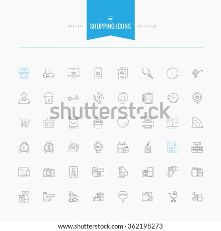 Shopping, retail, delivery, gift card, discount and more. Thin and line icons set, flat design, vector illustration - stock vector