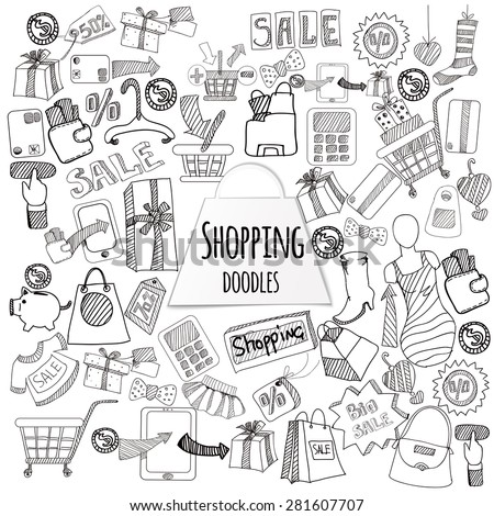 Shopping retail sale and discount doodle set isolated vector illustration - stock vector