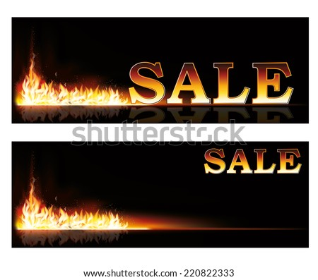 Shopping Sale fire banners, vector illustration - stock vector