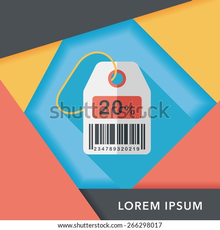 shopping sale price tag flat icon with long shadow,eps10 - stock vector
