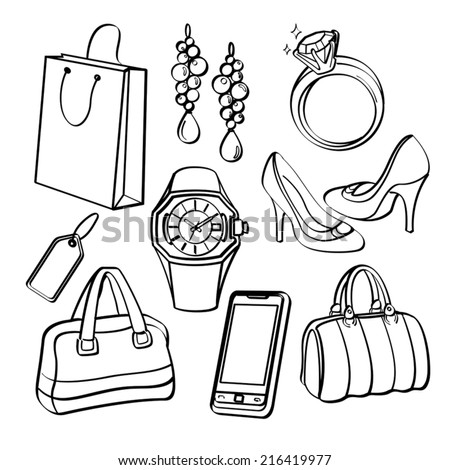 Shopping Set and Consumer Goods Collection - stock vector
