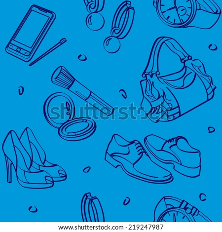 Shopping Set and Consumer Goods Seamless Background - stock vector