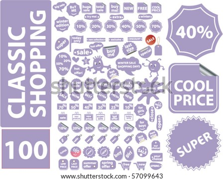 shopping 100 stickers - stock vector