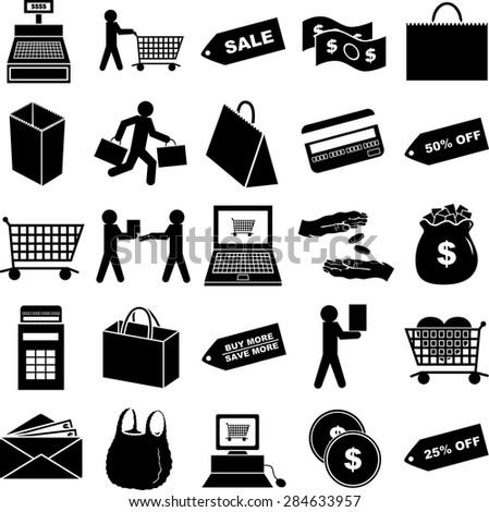 shopping symbols set - stock vector