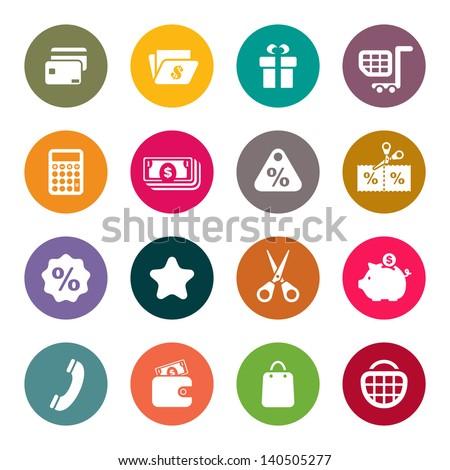 Shopping theme icons - stock vector