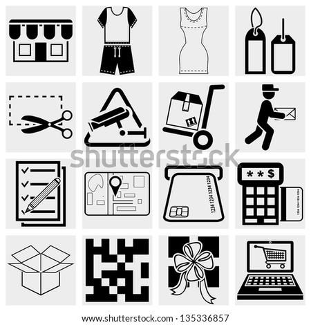 Shopping vector icons set. - stock vector