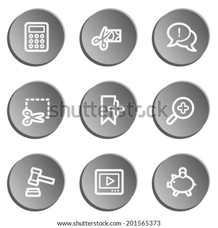 Shopping web icon set 3 , grey stickers set - stock vector
