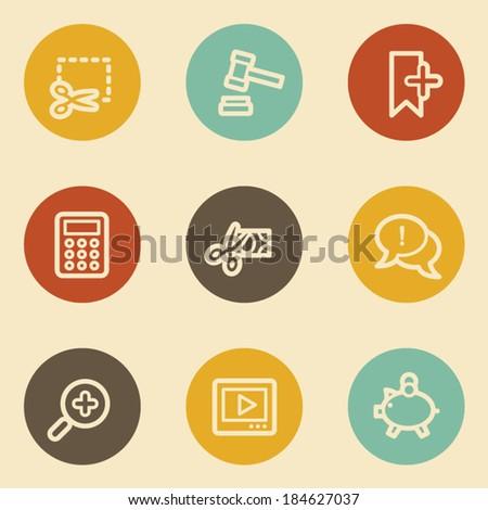 Shopping web icon set 3, retro circle buttons - stock vector