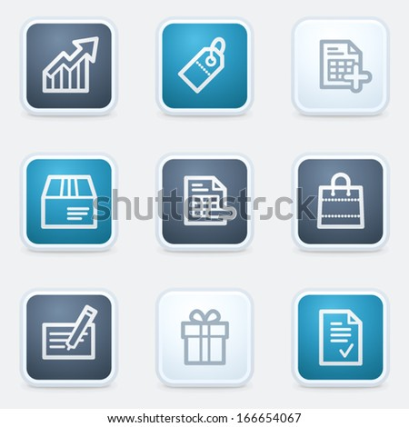 Shopping web icon set 1, square buttons - stock vector