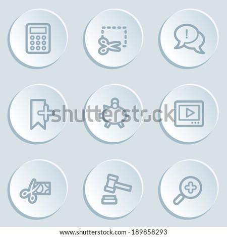 Shopping web icon set 3, white sticker buttons - stock vector