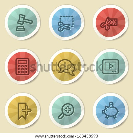 Shopping web icons, color vintage stickers - stock vector