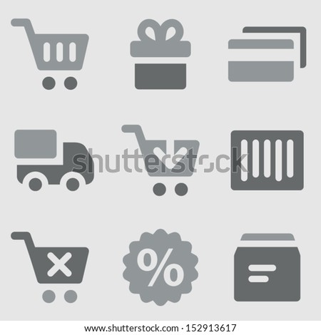 Shopping web icons grayscale icons - stock vector