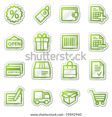 Shopping web icons, green contour sticker series - stock vector