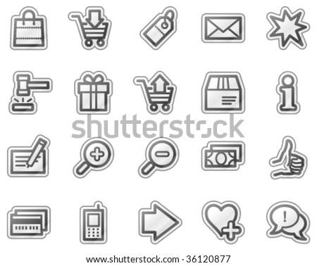 Shopping web icons, grey sticker series - stock vector