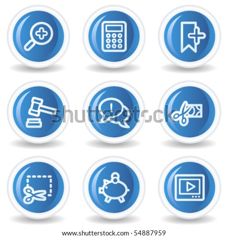 Shopping web icons set 3, blue glossy circle buttons - stock vector