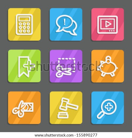 Shopping web icons set 3, color flat buttons - stock vector