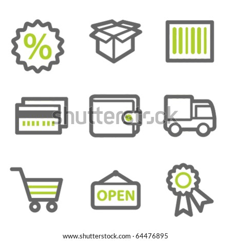 Shopping web icons set 2, green and gray contour series - stock vector