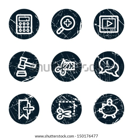 Shopping web icons set 3, grunge circle buttons - stock vector