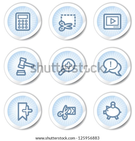 Shopping web icons set 3, light blue stickers - stock vector