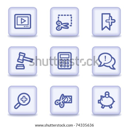 Shopping web icons set 3, light violet glossy buttons - stock vector
