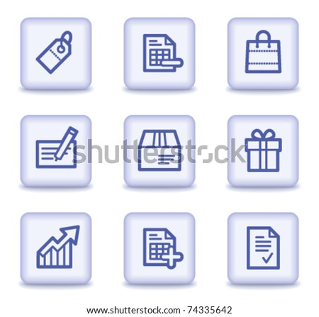 Shopping web icons set 1, light violet glossy buttons - stock vector