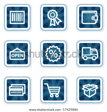 Shopping web icons set 2, navy square buttons - stock vector