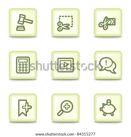 Shopping  web icons set 3, salad green buttons - stock vector