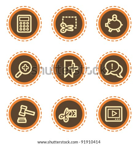 Shopping web icons set 3, vintage buttons - stock vector