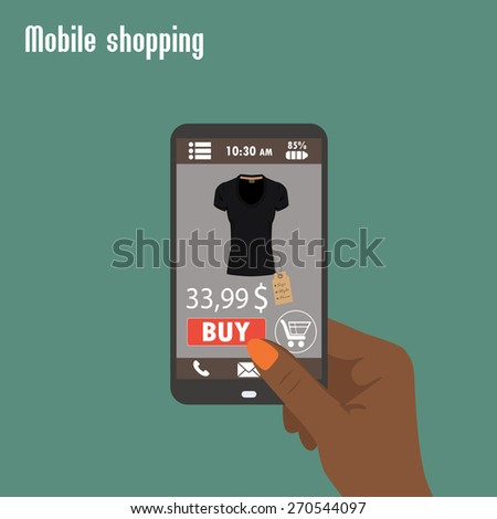 Shopping with smartphone. . Electronic commerce. Flat vector. - stock vector