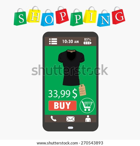 Shopping with smartphone. . Electronic commerce. vector - stock vector
