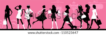 Shopping woman. All elements and textures are individual objects. Vector illustration scale to any size. - stock vector
